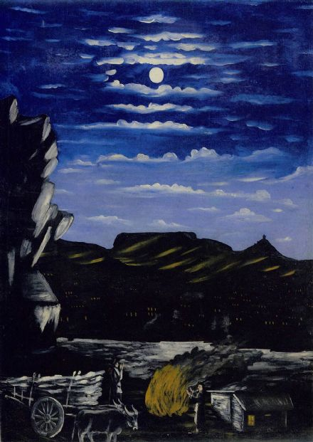 Pirosmani, Niko: Arsenali Mountain at Night. (Georgian Primitivist Painter/Artist)  (003019)